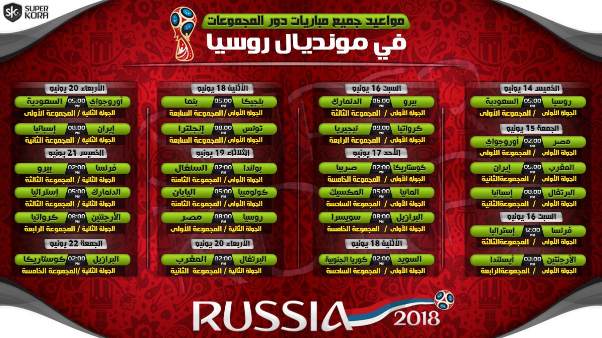 مواعيد مباريات كاس العالم 2018 بتوقيت القاهره